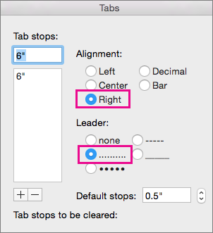 The Tab dialog box, set up for a right-aligned tab with dots