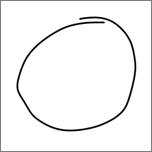 Pokaže krog, ki je narisan s peresom.