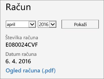 Posnetek zaslona razdelka z računom na strani s podrobnostmi računa v skrbniškem središču za Office 365.