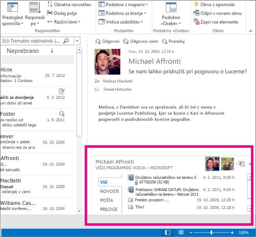 Outlook Social Connector po razširitvi
