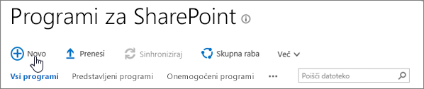 Katalog aplikacij SPO za SharePoint z označenim gumbom »Novo«
