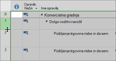 Posnetek zaslona Ganttov grafikon pogled s kazalcem premaknete kazalec miške nad vrstico ločilo