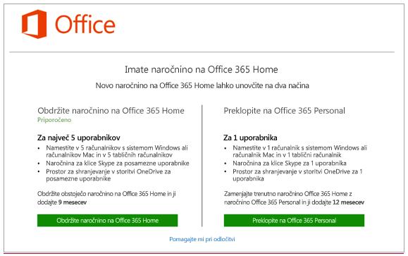 Izberite, kako želite spremeniti naročnino na Office