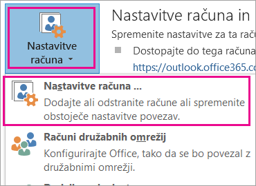 Če želite odstraniti račun za Gmail, izberite »Datoteka«, »Nastavitve računa«, »Nastavitve računa«.
