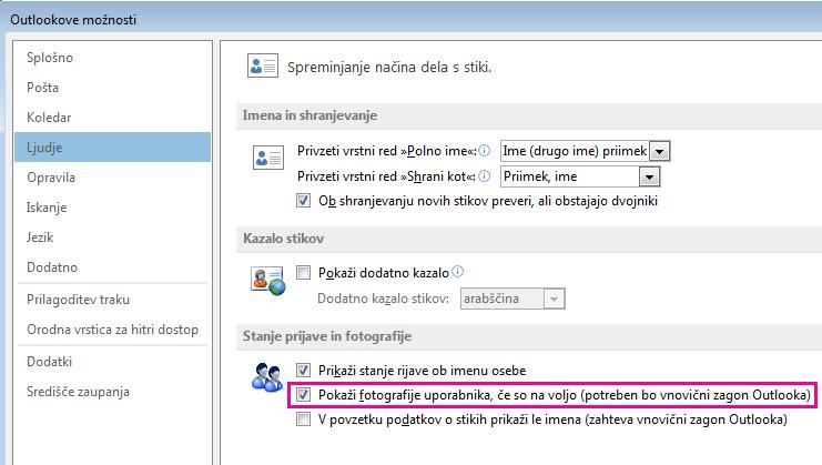 Posnetek zaslona okna »Outlookove možnosti« z označenim potrditvenim poljem »Omogoči fotografije«