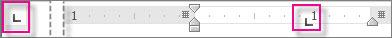 Prikaz vodoravnega ravnila za nastavitev tabulatorskih mest.