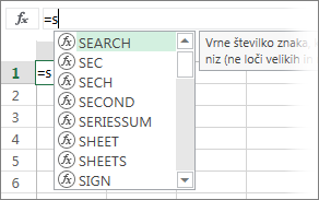 Seznam za samodokončanje formul