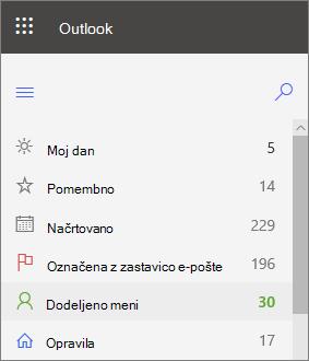 Posnetek zaslona levega krmarjenja za opravila za Outlook za splet, ki prikazuje dodeljeno meni takoj po zastavici e-pošte