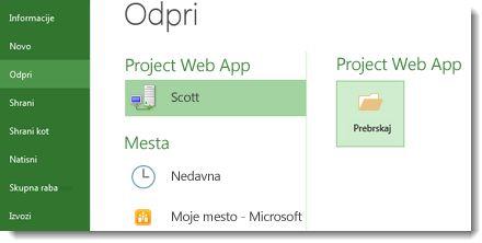 Gumb »Prebrskaj« za odpiranje datoteke Project Web App