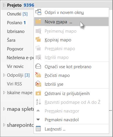Dodajanje nove mape