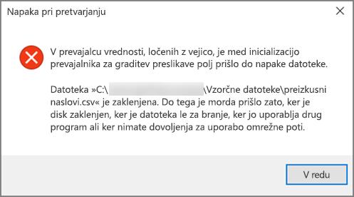 To je sporočilo o napaki, ki ga dobite, če so podatki v datoteki .csv slabo oblikovani.