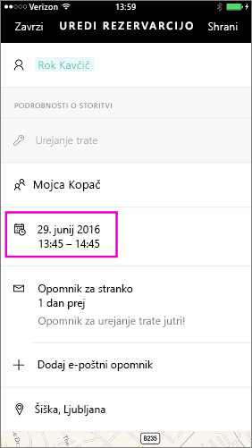 Tapnite datum in čas, da spremenite