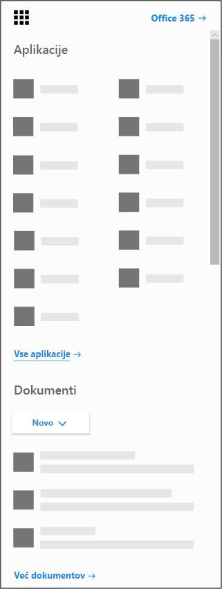 Zaganjalnik aplikacij v storitvi Office 365