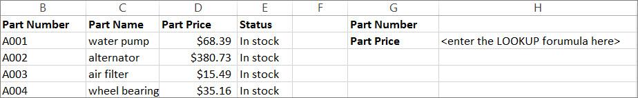 Primer možne uporabe funkcije LOOKUP