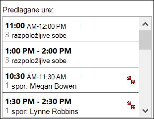 Če želite videti, kdaj so udeleženci na voljo, uporabite izbirnik predlagane ure.