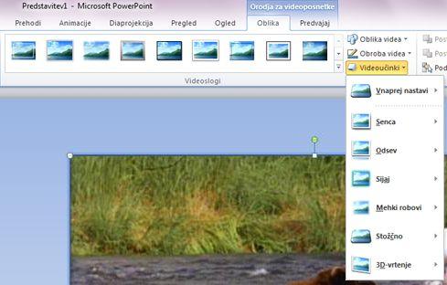 Uporaba posebnih učinkov v videoposnetku