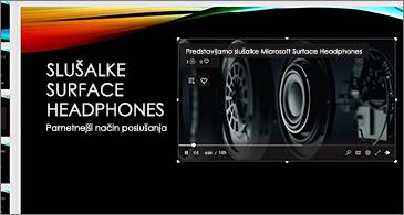 Diapozitiv, ki vsebuje spletni videoposnetek