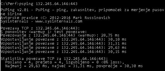 PSPing za naslov IP, ki ga je vrnil ping za outlook.office365.com, in prikazuje povprečno zakasnitev 28 ms.