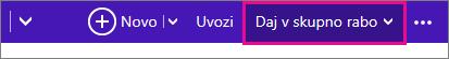 Outlook.com – kliknite »Skupna raba«, da izberete koledar