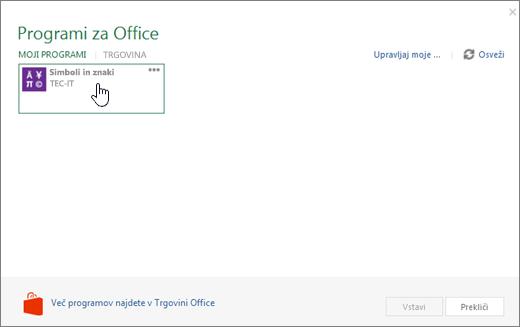 Posnetek zaslona pokaže zavihek »moji programi« na strani Office.