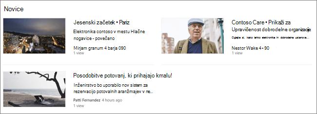 Screencap spletnega gradnika za novice na SharePointovem mestu, kjer so bila sporočila filtrirana