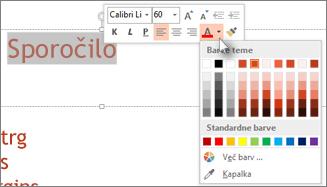 Spremenite barvo besedila