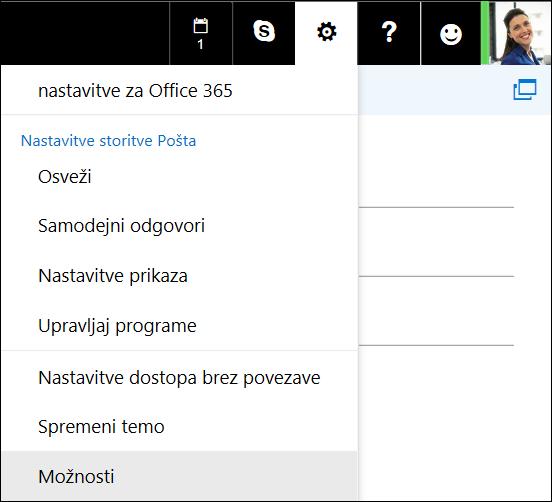 Možnosti nastavitev za spletni Outlook