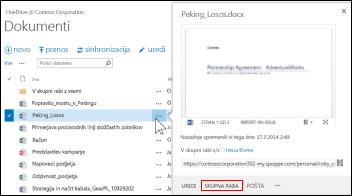 Omogočite skupno rabo dokumenta v SharePointovi knjižnici