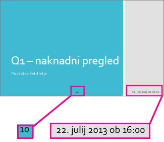 Dodajanje datuma, časa in številk strani