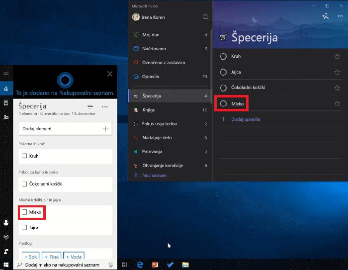 Posnetek zaslona Cortana in Microsoft To-Do odpreti v sistemu Windows 10. Mlečni je bil dodan v nakupovalni seznam s Cortana in je na voljo v nakupovalni seznam v Microsoft To-Do