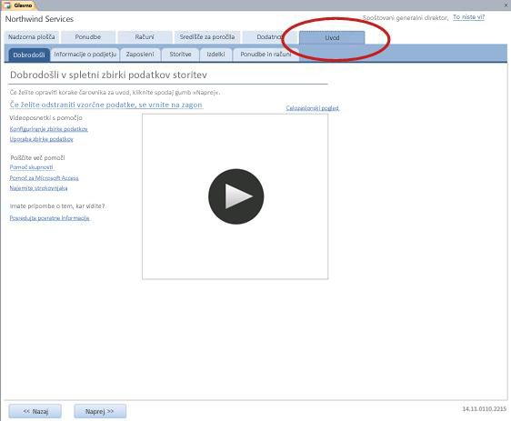 Zavihek »Uvod« predloge za spletno zbirko podatkov storitev
