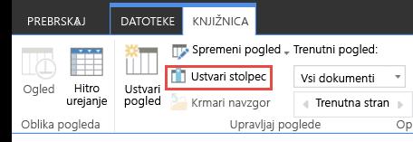Povezava za ustvarjanje stolpca v knjižnici storitve SharePoint Online