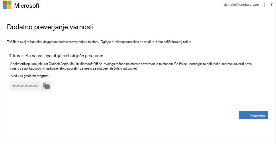 Območje z gesli za aplikacije na strani »Dodatno varnostno preverjanje«