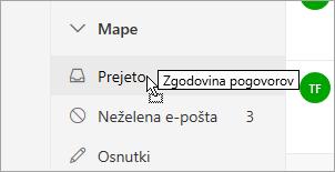 Posnetek zaslona, ki prikazuje mapo, ki je povlečeno v drugo mapo