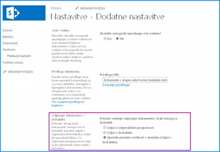 Posnetek zaslona strani »Dodatne nastavitve« za knjižnico dokumentov v SharePointu