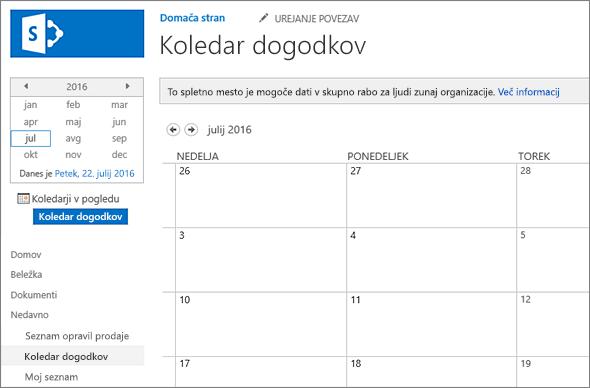 Primer aplikacije seznama koledarja.
