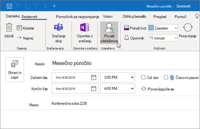 Načrtovanje sestanka v Outlooku