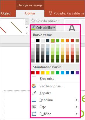 Prikaže možnosti barve črte v Officeu