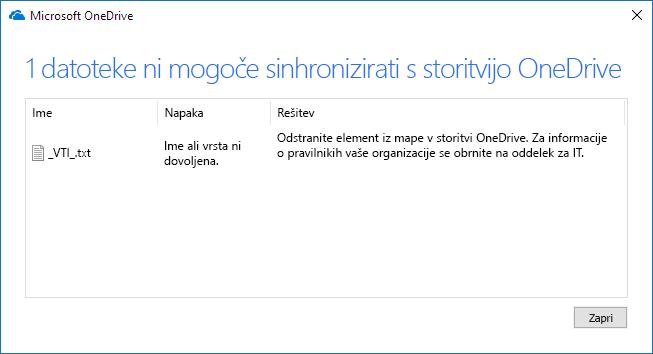datoteke storitve OneDrive ni mogoče sinhronizirati