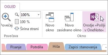 Upravljanje hitrih beležk z orodjem za pošiljanje v OneNote