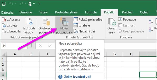 Nova poizvedba v programu Excel 2016