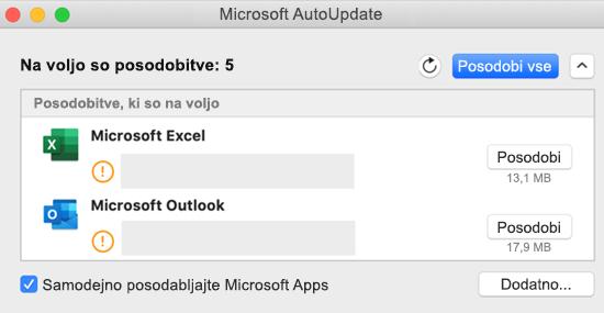 Podoba nadzorne plošče Microsoft autoupdate z informacijami o posodobitvah.