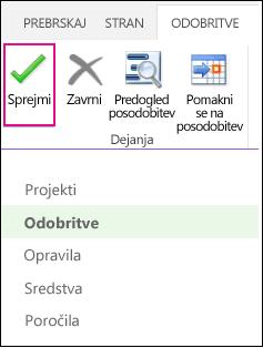 Slika sprejemanja posodobitev iz programa Project Web App