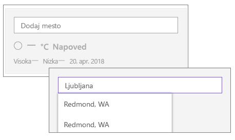 Dodajanje mesta v spletnem gradniku za vreme