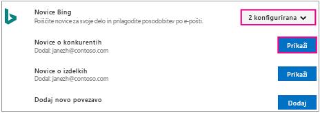 Povezovalnik s konfiguriranimi in označenimi gumbi »Pogled«