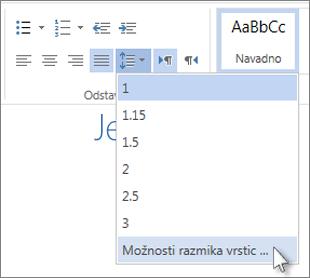 Meni »Razmik vrstic« v programu Word Web App