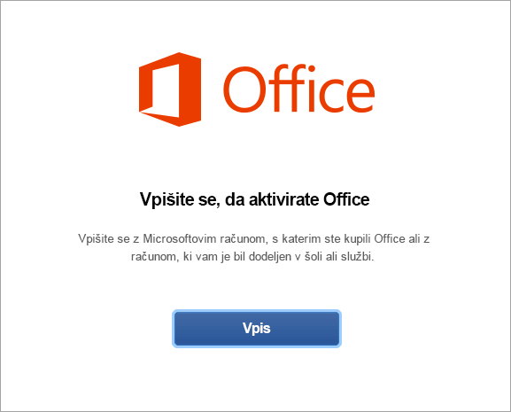 Vpišite se, da aktivirate Office za Mac