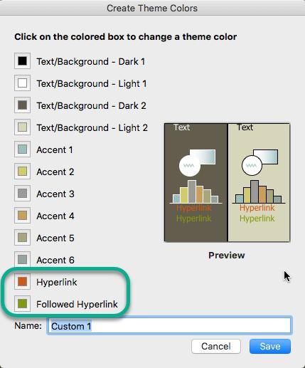 Izberite barvo hiperpovezave in spremljanih hiperpovezave