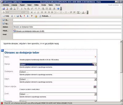 Zbiranje podatkov v InfoPathu