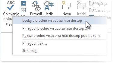 Dodajte ukaz »Črkovanje in slovnica« v orodno vrstico za hitri dostop v Wordu